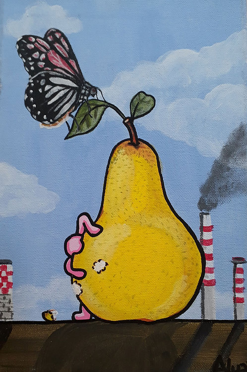White City Gallery presents 'La Pera Tossica' by street artist ALUA (Christian Aloi) The Toxic Pear. Rotten. Polluted. Bosch