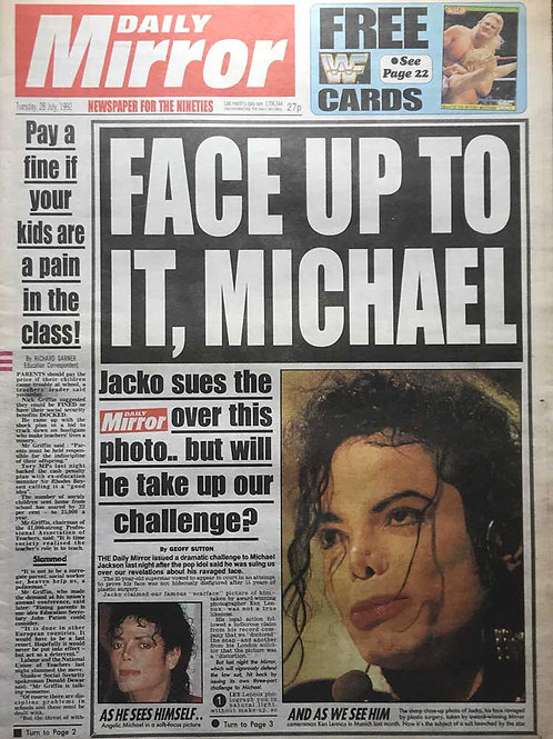 1992 Face Up To It DAILY MIRROR Newspaper MICHAEL JACKSON