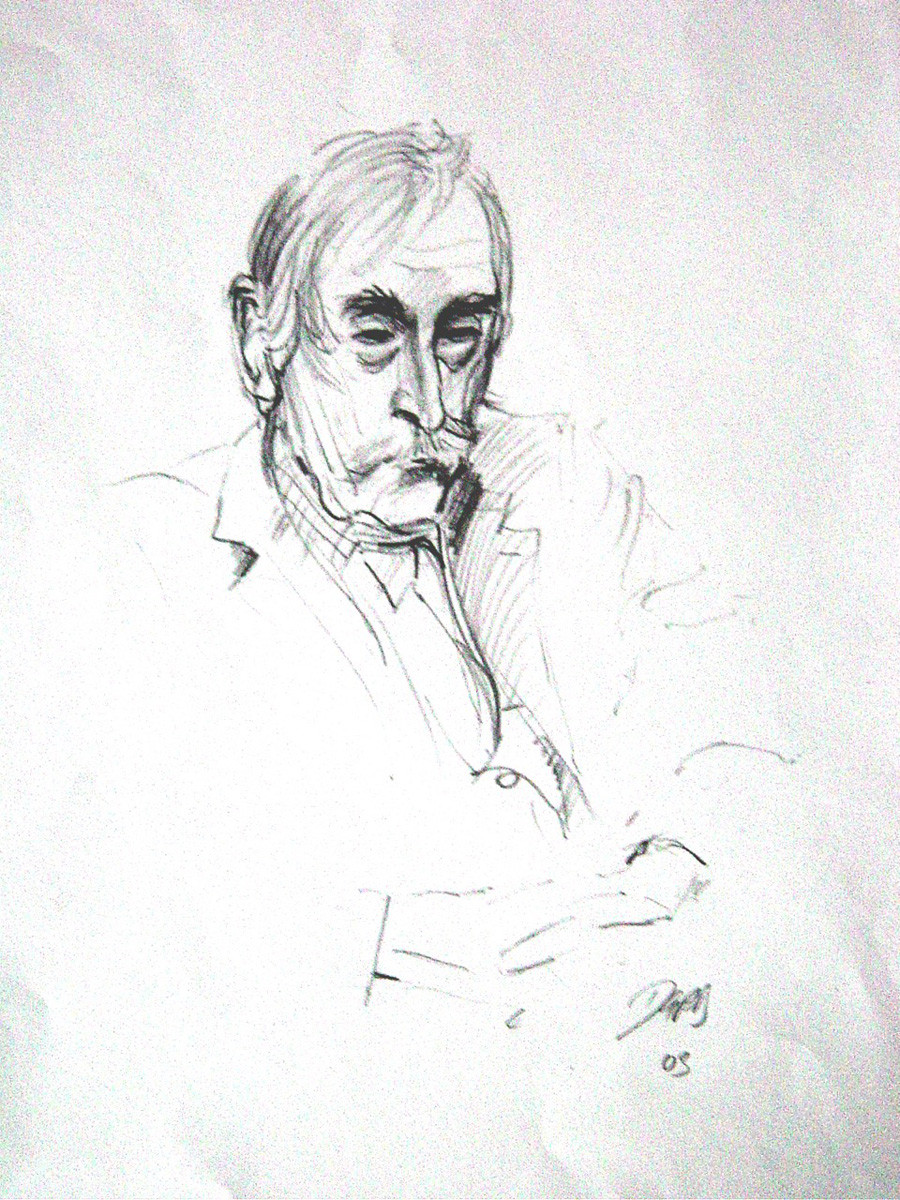 Portrait of Kyffin Williams by David Porteous-Butler. Pencil drawing on Paper (2003)