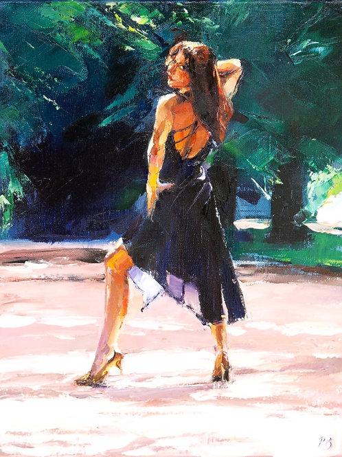 David Porteous-Butler 'Cassandra, Kenwood II' 40x30cm White City Gallery London Oil on canvas Palette knife artwork long legs