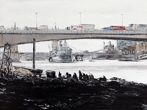 White City Gallery presents 'From Under Cannon Street Bridge' by David Porteous-Butler. River Thames painting, HMS Belfast