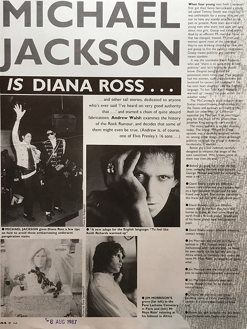 1987 Record Mirror Magazine Article UK MICHAEL JACKSON IS DIANA ROSS