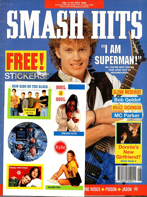 1990 Smash Hits magazine cover featuring Craig McLachlan from Neighbours