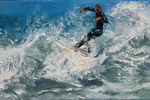 David Porteous-Butler 'Harlyn Bay Surfer II' 41x24cm White City Gallery London Oil on canvas Palette knife painting Cornwall