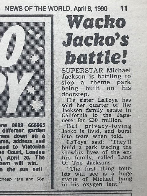 1990 April 'Wacko Jacko's Battle!' News of The World Article