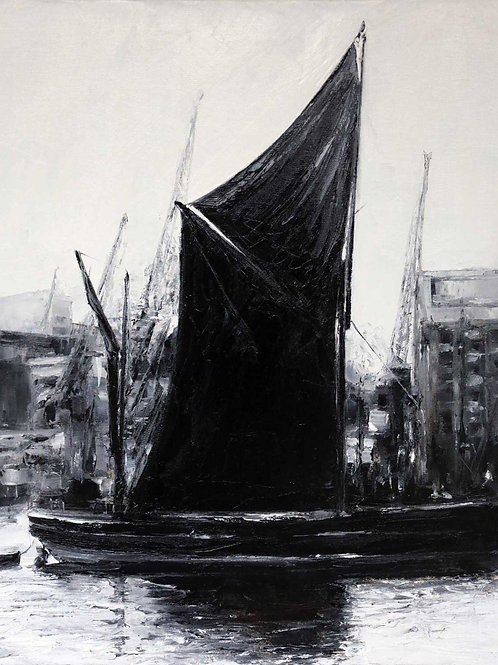 White City Gallery presents 'Thames Barge c1890' by David Porteous-Butler. Original oil painting river scene cargo boat