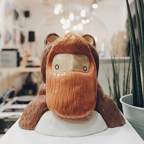'Orsetto' Little Bear ceramic sculpture by Italian artist NAKI. Beardy bear art