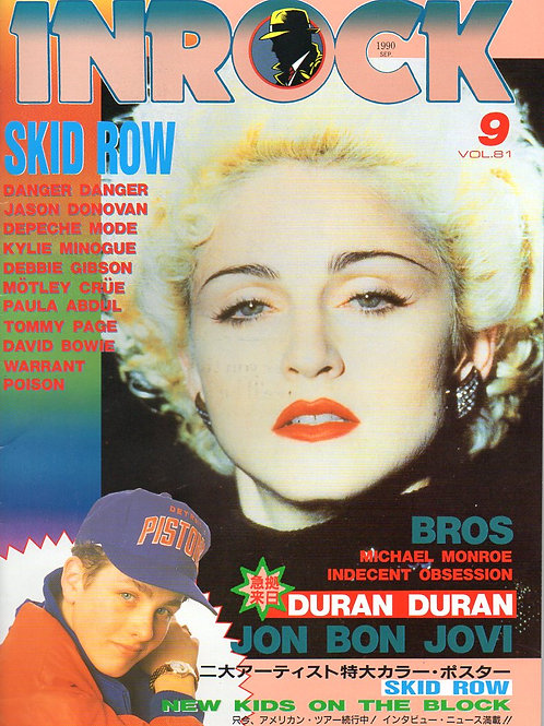 Pop Star Madonna on the cover of Japanese INROCK Magazine September 1990