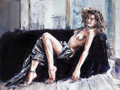 White City Gallery presents 'Jess in the Studio' by David Porteous-Butler. Reclining nude oil painting of the female form