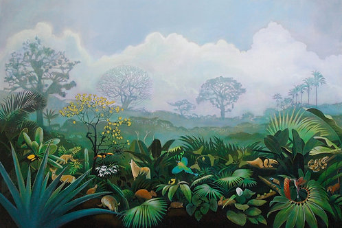 Panama Rain Forest (diversity of tropical flora and fauna) original painting by Deirdre Hyde, White City Gallery London