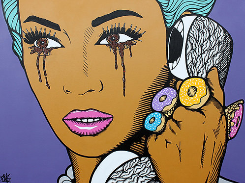 'BeyonSay What?' Can't believe the news! Original painting by urban artist PINS at White City Gallery London