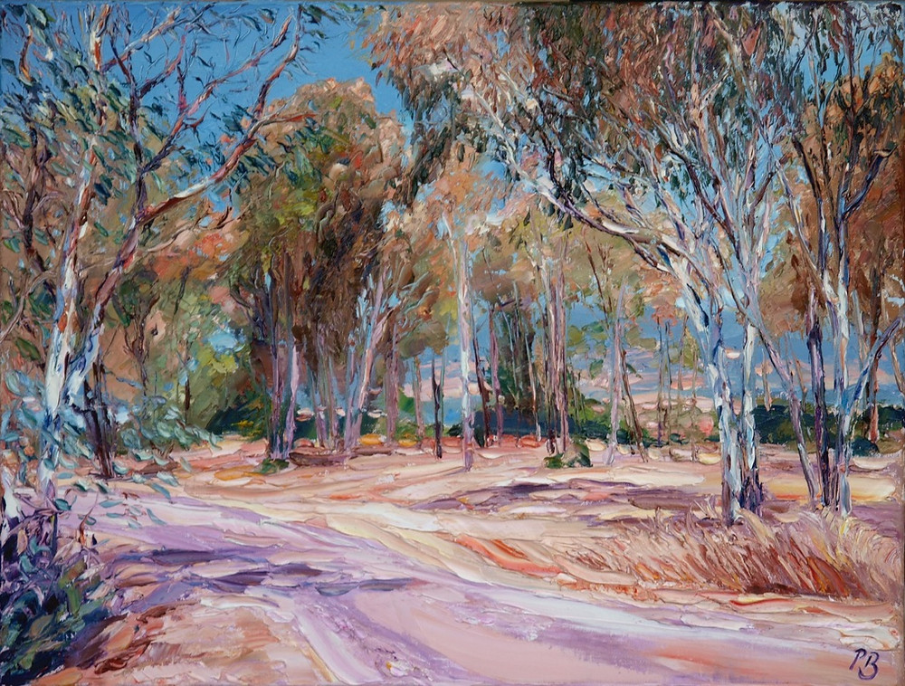 A heavily textured oil painting of a eucalyptus grove in Australia by David Porteous-Butler. A typical Australian landscape scene of trees and dry reddish earth.