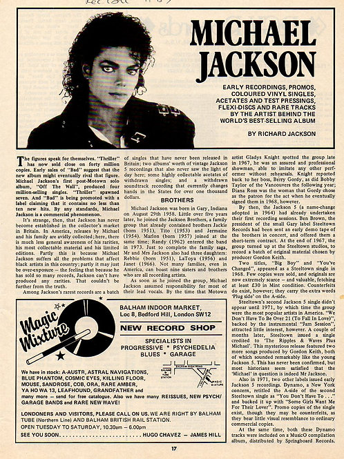 1987 November MICHAEL JACKSON UK Record Collector Magazine Article DISCOGRAPHY