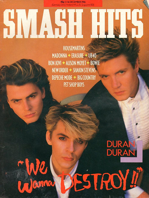 SMASH HITS MAGAZINE DECEMBER 1986 DURAN DURAN HOUSEMARTINS