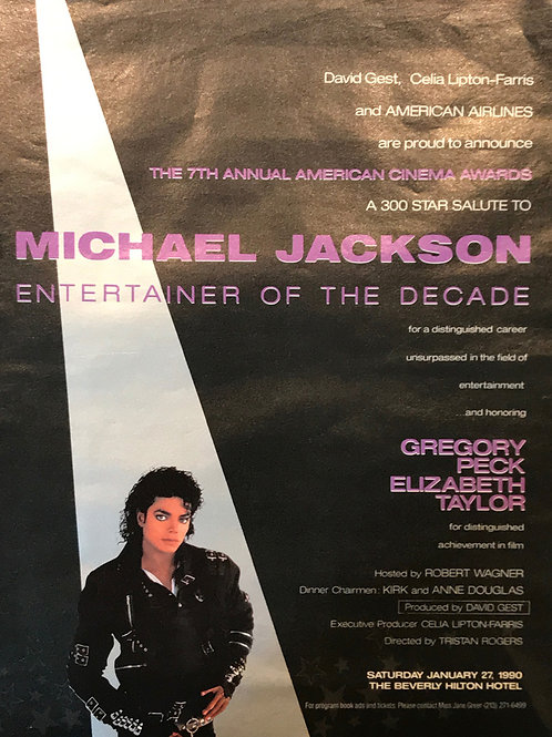 1989 BILLBOARD MAG Entertainer of The Decade MICHAEL JACKSON