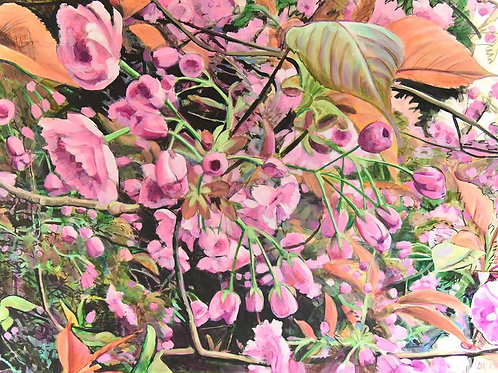 Cherry Blossom, pink flowers green leaves, original painting by Deirdre Hyde, White City Gallery London