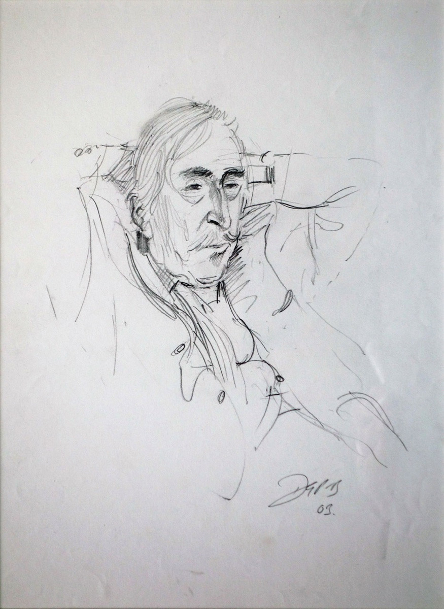 Portrait of Kyffin Williams, RA by David Porteous-Butler. Pencil drawing on Paper (2003)
