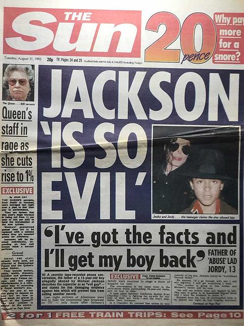 1993 'Jackson Is So Evil' MICHAEL JACKSON The Sun News Article