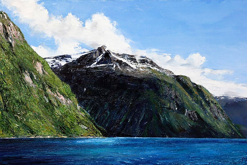 Painting of Geirangerjord by David Porteous-Butler. Beautiful Norwegian landscape presented by White City Gallery, London