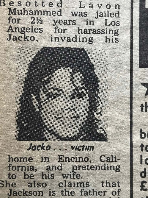 1989 Feb 1 'Jacko's Sex Pest Is Jailed' THE SUN UK News Article MICHAEL JACKSON