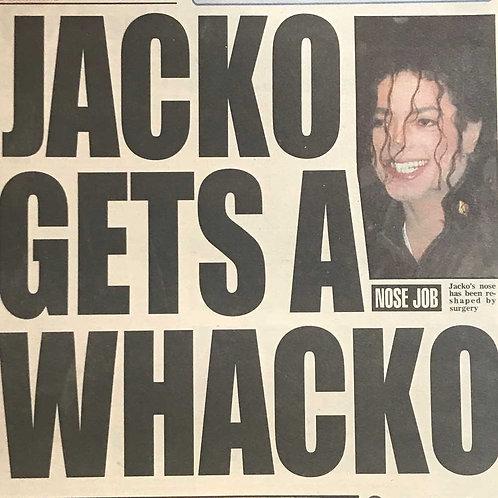 1992 Jacko Gets a Whacko DAILY MIRROR Newspaper MICHAEL JACKSON