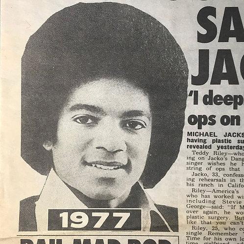 1992 Feb THE SUN News Article MICHAEL JACKSON 'Plastic Too Drastic'