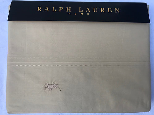 """RALPH LAUREN King Flat Sheet Sand 270x280cm 106x110"""" 220 thread count Cotton NEW"""