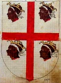 Flag of the Four Moors' or 'Alcoraz Cross' from 1536