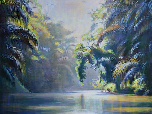 View of Rio Pacuare in Costa Rica, original painting by Deirdre Hyde, White City Gallery London