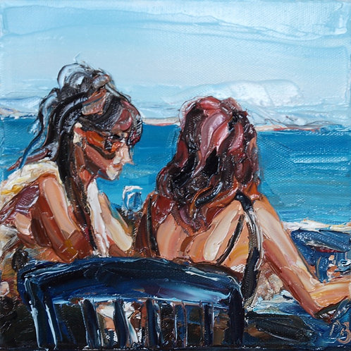 David Porteous-Butler 'Two Girls, Il Veliero' 20x20cm White City Gallery London Oil on canvas Palette knife artwork Gossiping