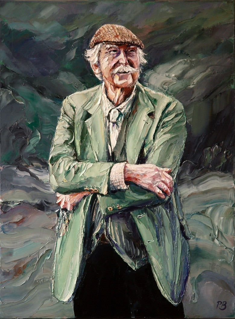 Portrait of Sir Kyffin Williams by David Porteous-Butler. Oil Painting on Canvas