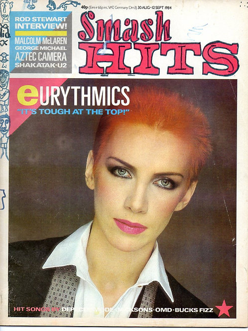 SMASH HITS 30th AUGUST 1984 ANNIE LENNOX EURYTHMICS GEORGE MICHAEL AZTEC CAMERA