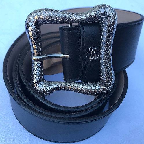Roberto Cavalli Mens Luxury Leather Belt Black