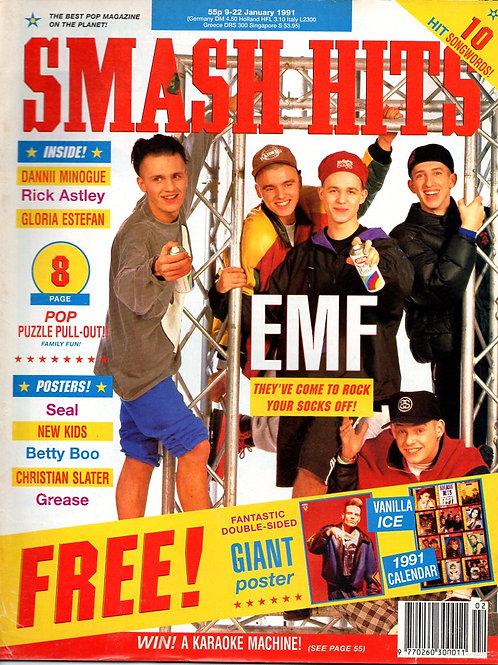 SMASH HITS January 1991 EMF DANNII MINOGUE GLORIA ESTEFAN RICK ASTLEY BETTY BOO