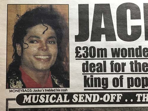 1990 Oct 'Jacko-Pot!' DAILY MIRROR Newspaper Article UK MICHAEL JACKSON