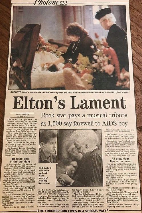 1990 April 'Elton's Lament' for Ryan White Michael Jackson Daily Express Article