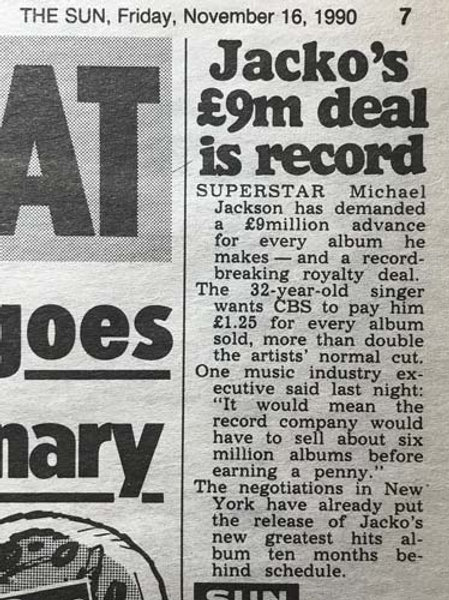 1990 Nov 16 '£9M DEAL IS RECORD' THE SUN News Article feat. MICHAEL JACKSON