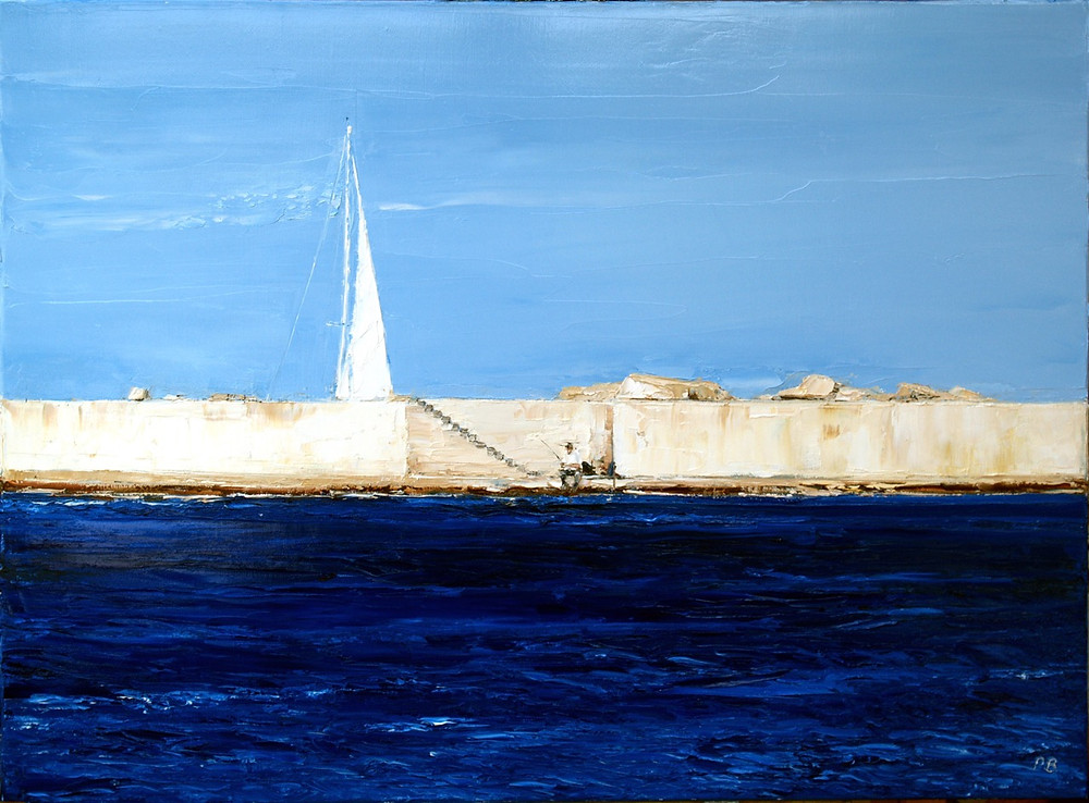 A heavily textured oil painting of the harbour wall at Stintino in Sardinia by David Porteous-Butler. The foreground is a deep blue sea, while in the midground a lone fisherman sits patiently on the harbour wall. The upper third portion of the painting has a tall white sail jutting into a cloudless blue sky from behind the harbour wall