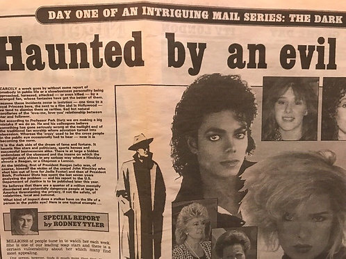 1990 'Haunted By An Evil Stalker' Michael Jackson Daily Mail News Article