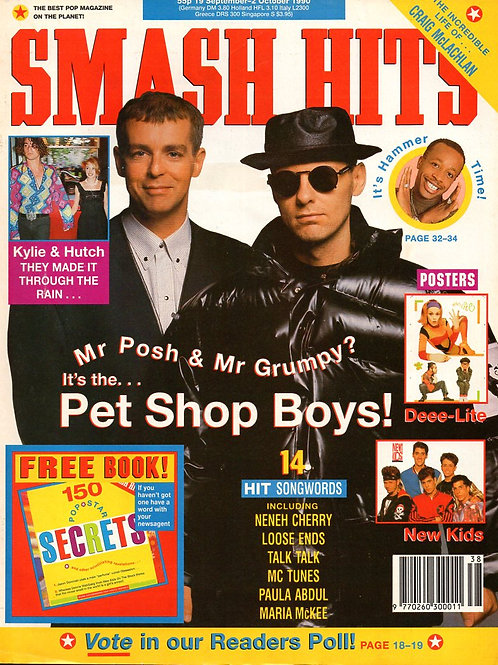1990 Smash Hits magazine cover featuring Pet Shop Boys Neil Tennant and Chris Lowe