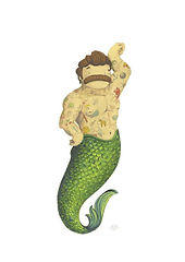 'Merman Green' by NAKI - a muscular, moustachioed, tattooed merman with a green tail