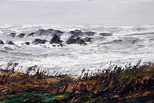 David Porteous-Butler 'Above Cable Bay' 41x24cm White City Gallery London Oil on canvas Palette knife artwork Seascape Kiwi