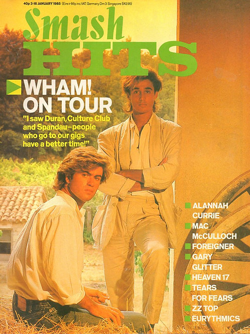 SMASH HITS MAGAZINE JANUARY 1985 WHAM! EURYTHMICS HEAVEN 17 TEARS FOR FEARS