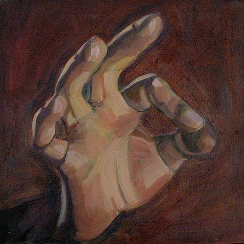 Small painting of a human hand in the 'ok' gesture (finger to thumb) painted in a range of brown tones - by Deirdre Hyde
