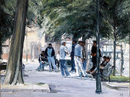 David Porteous-Butler 'I Torinesi' 60x50cm White City Gallery London Oil on canvas Palette knife artwork Turin Townscape