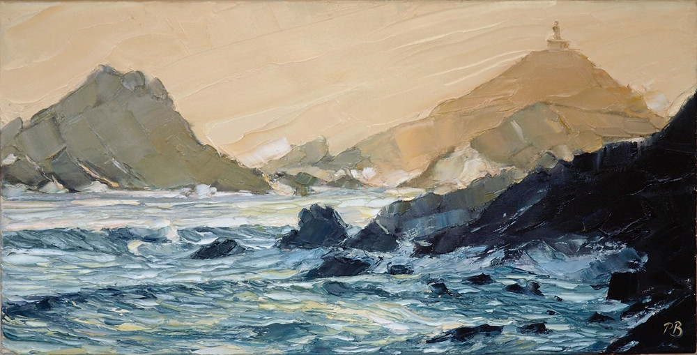 A heavily textured oil painting of the smaller islands off Corsica by David Porteous-Butler. Waves crash against dark rocks in the foreground while in the background peaks of distant islands can be seen.