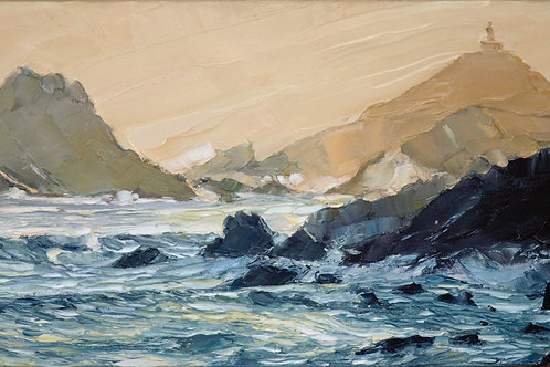 David Porteous-Butler 'Islands, Corsica' 80x50cm White City Gallery London. Oil on canvas, palette knife artwork. Seascape