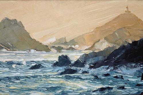 David Porteous-Butler 'Islands, Corsica' 80x50cm White City Gallery London. Oil on canvas, palette knife artwork. Seascape