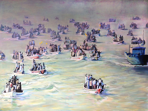 A flotilla of small boats bounce across the water. Original painting by Deirdre Hyde, White City Gallery London