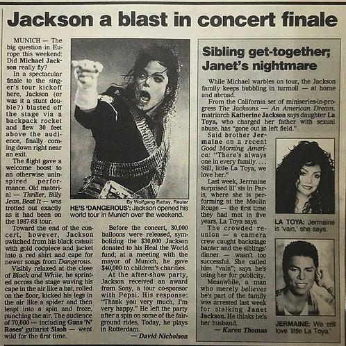 Michael Jackson Dangerous Tour Munich concert June 1992 USA Today